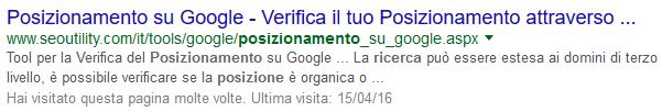 Title non ottimizzato e tagliato da Google