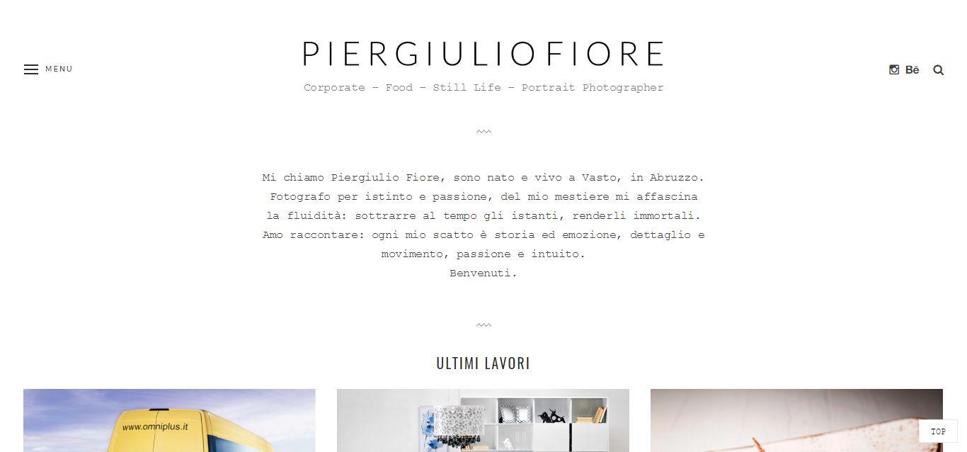 La home page del sito web di Piergiulio Fiore, fotografo di Vasto (Abruzzo)
