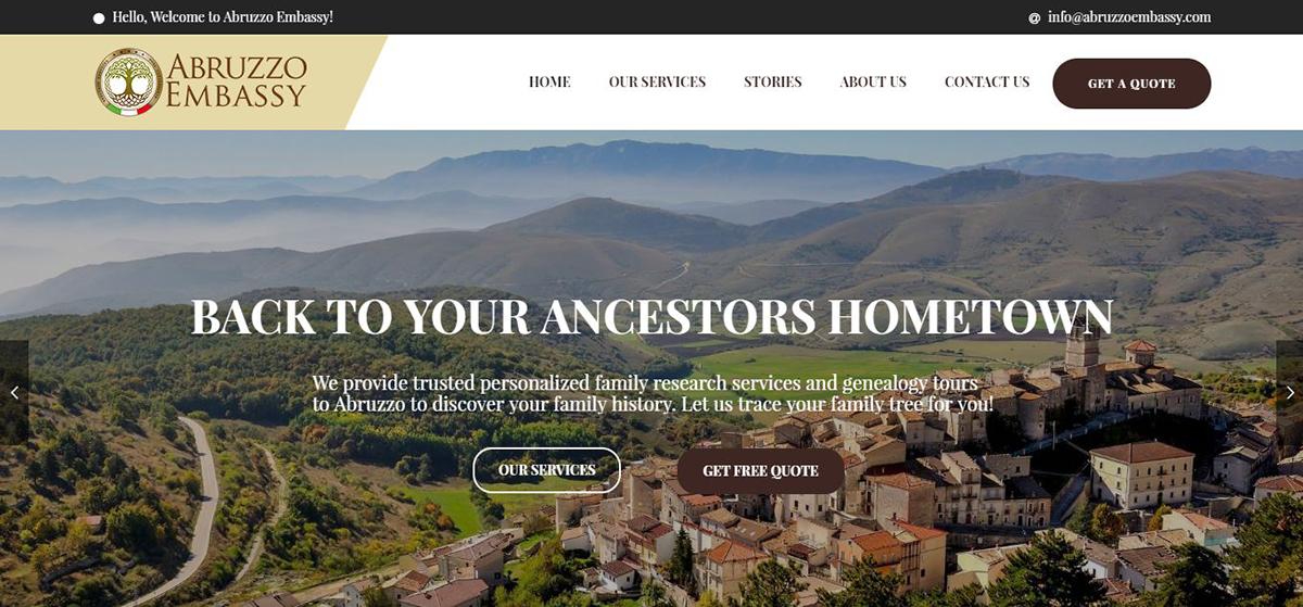 La homepage di AbruzzoEmbassy.com