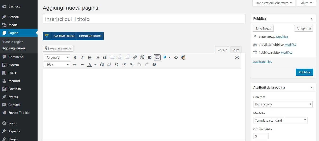 La schermata di creazione di una pagina WordPress