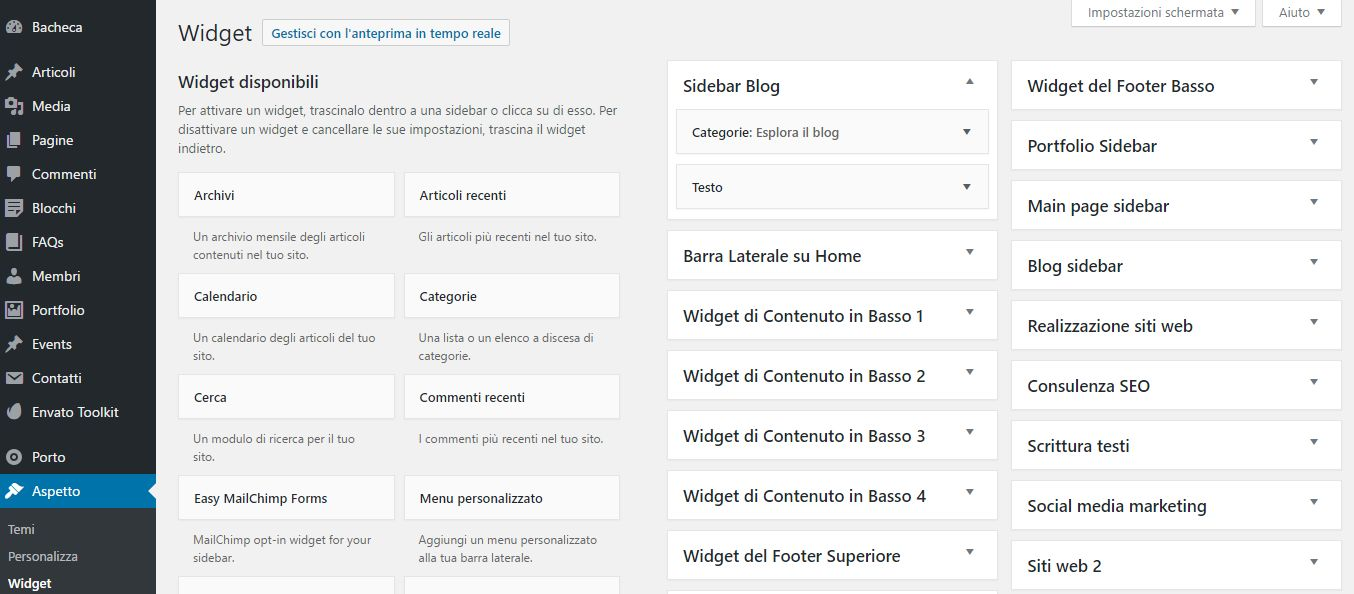 I widget di WordPress