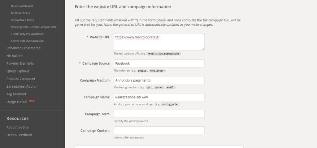 La schermata del Campaign Url Builder di Analytics