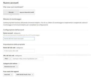 La schermata per la creazione del nuovo account di Analytics