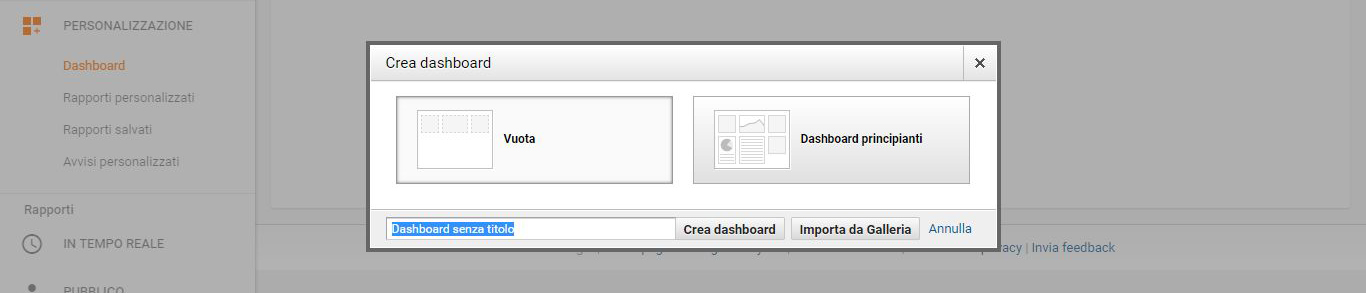La schermata di creazione di una dashboard