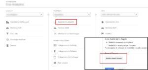 Lo screenshot della sezione Amministrazione per integrare Analytics e Search Console