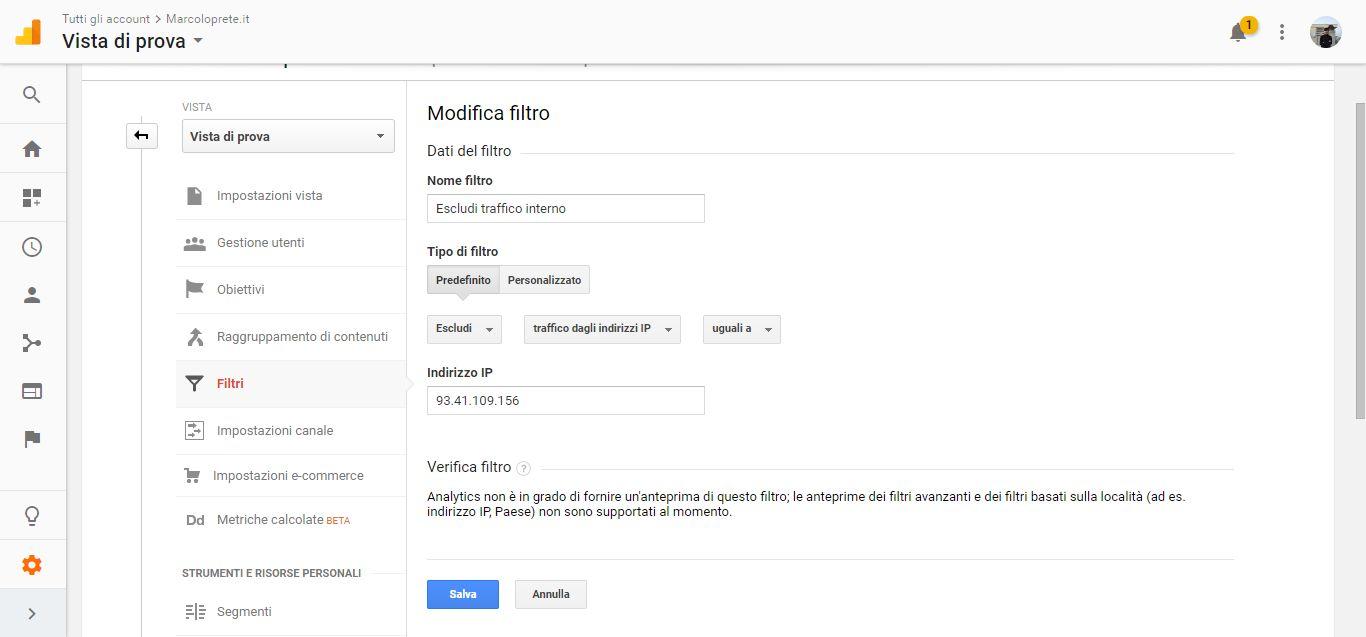 La schermata di modifica filtro