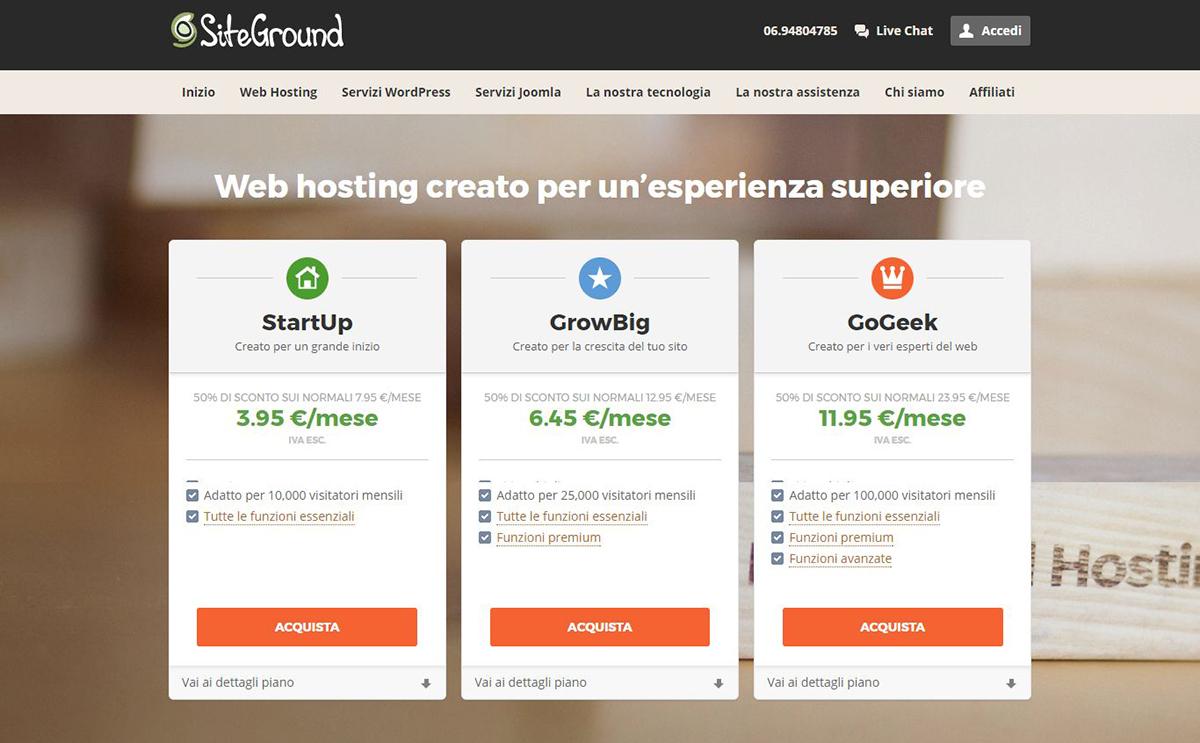 Riepilogo dei piani su hosting condiviso di Siteground