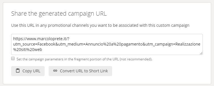 Lo URL di una campagna