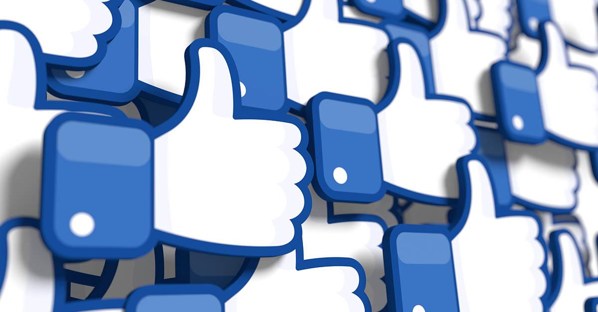 Il simbolo dei like su Facebook