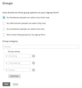 La schermata di creazione dei gruppi