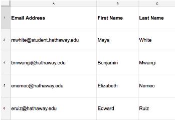 Una tabella Excel con i contatti