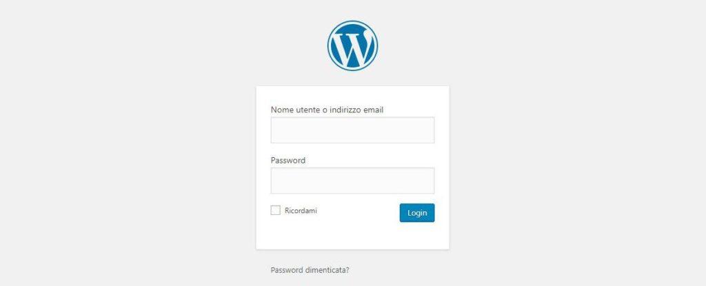 La schermata per accedere al pannello di controllo di WordPress