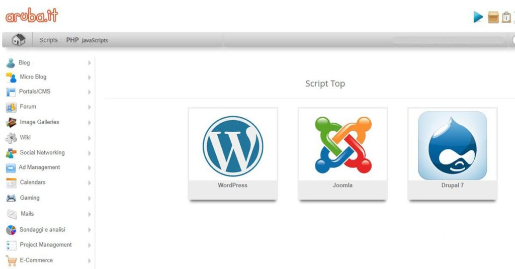 Il pannello di controllo di Aruba con l'installazione di WordPress