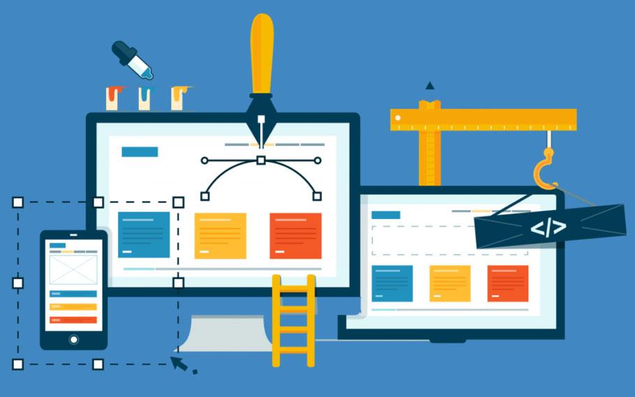 Illustrazione del processo di creazione di un sito WordPress con layout responsive