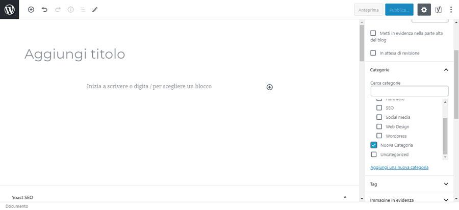 La schermata per associare un articolo ad una categoria