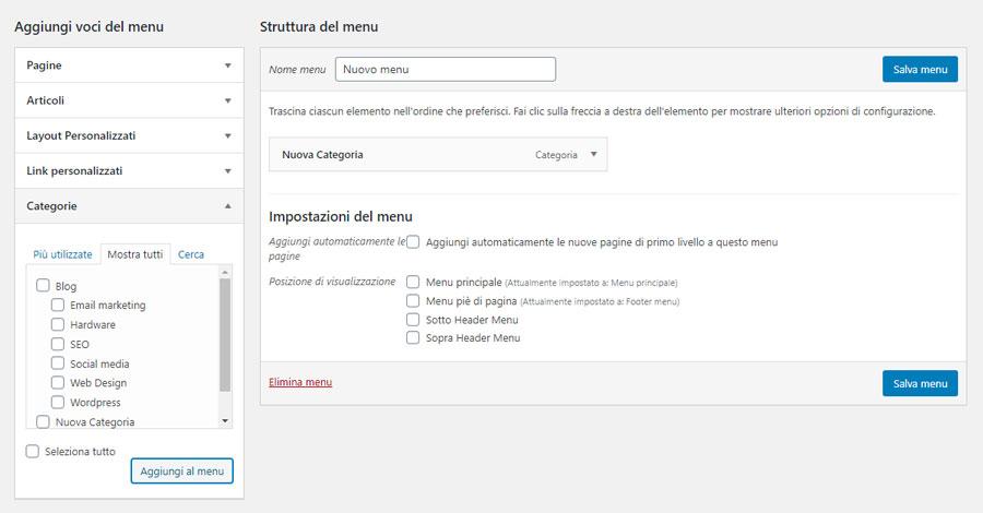 La schermata per l'inserimento di una pagina archivio di categoria nel menu di WordPress