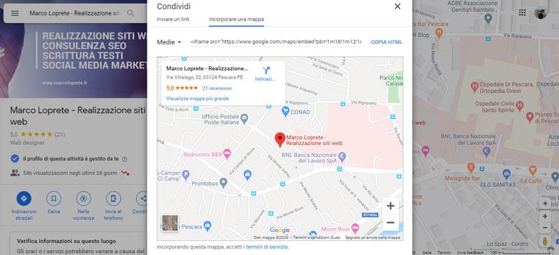 La schermata di Google Maps che mostra il codice da embeddare sul sito