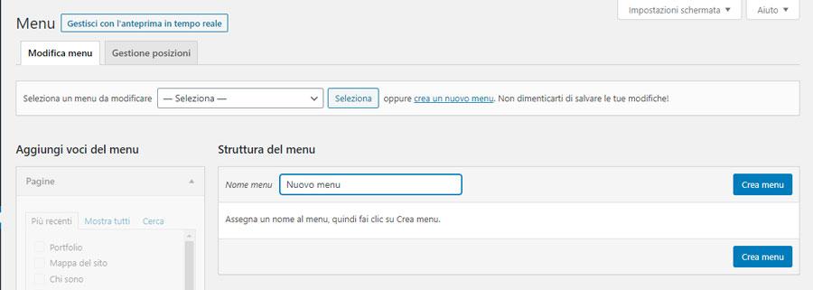 La schermata di creazione di un menu