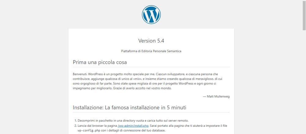 La schermata che mostra il file readme.html del mio sito