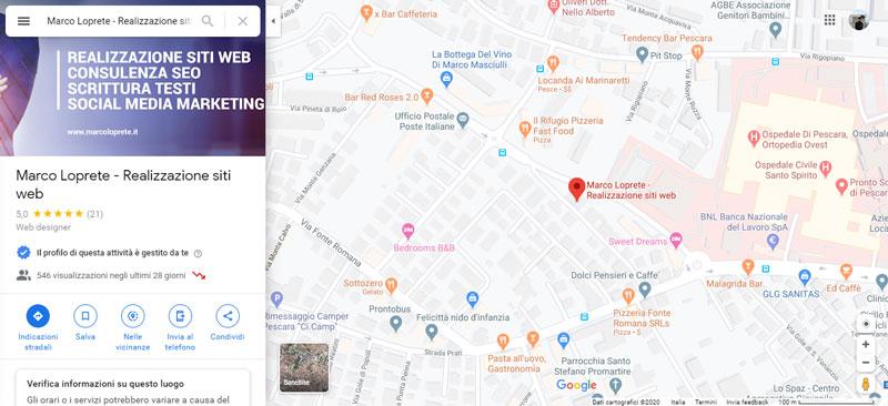 La schermata principale di Google Maps