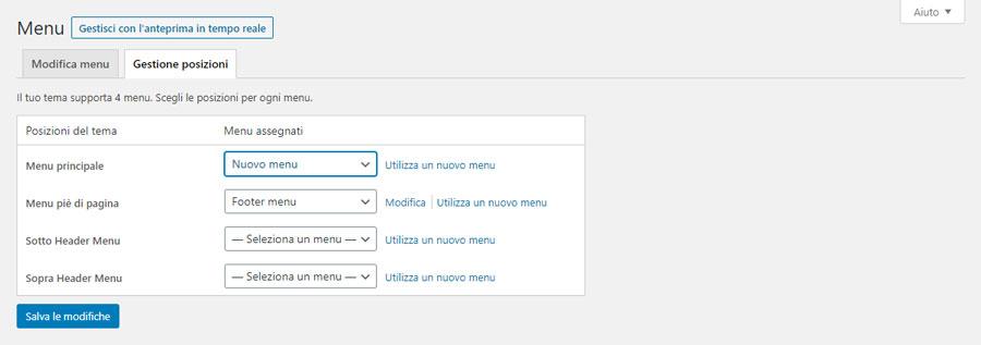 La schermata per la scelta della posizione del menu