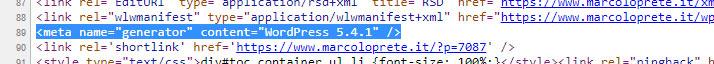 """Il tag <meta name=""""generator""""> nel codice sorgente del mio sito"""