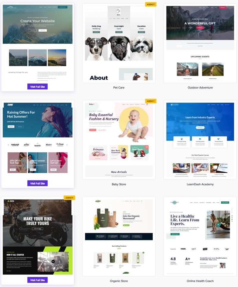Alcuni esempi di starter themes di Astra