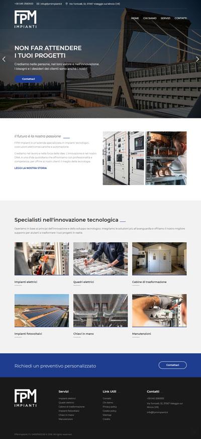La prima pagina del sito Fpmrimpianti.it, società di impianti elettrici a Verona