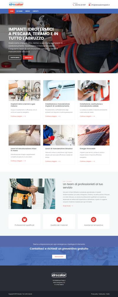 La home page di Idrocalorimpianti.it, azienda di impianti idrotermosanitari a Pescara e in tutto l'Abruzzo
