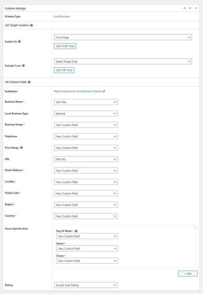 La schermata di configurazione dello schema Local Business