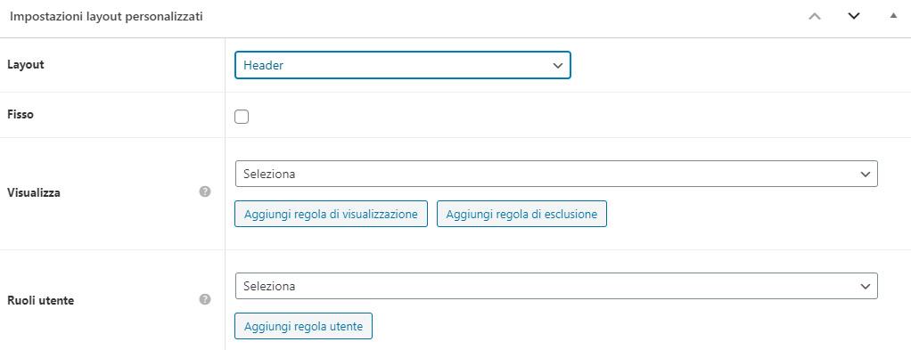 La procedura di creazione di un custom layout nell'header