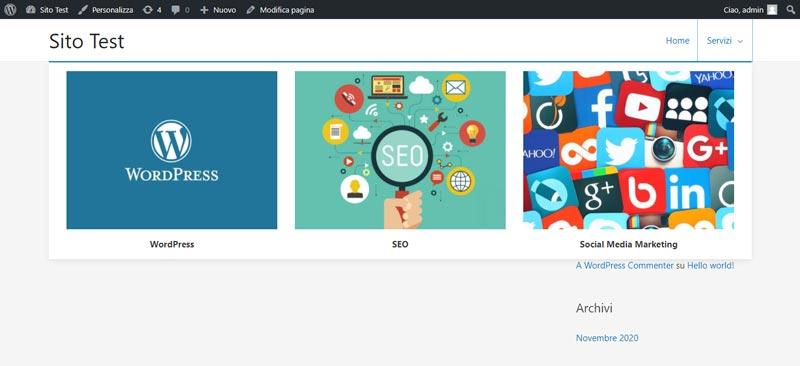 Mega menu con immagini