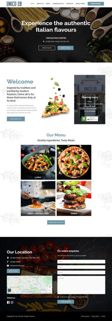 La home page di Unico28.co.uk, ristorante italiano a Londra