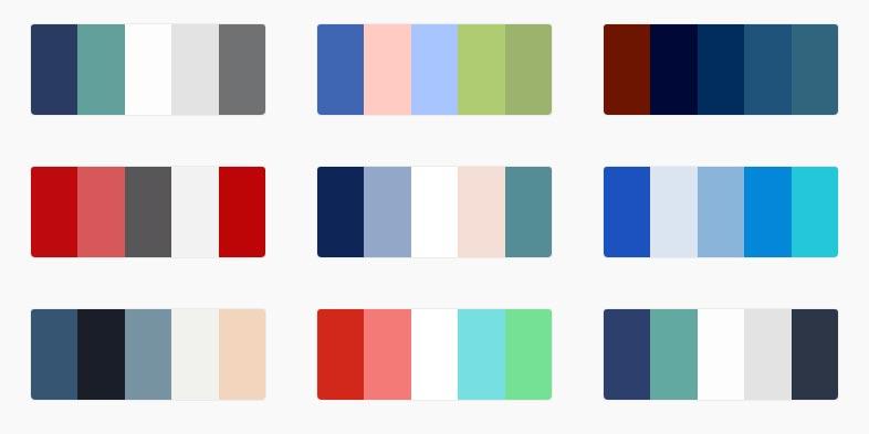 Alcuni esempi di palette di colori per siti per medici